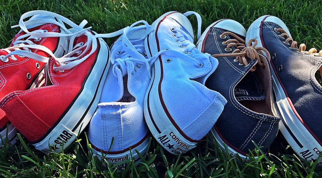 Red, white and blue tennis shoes