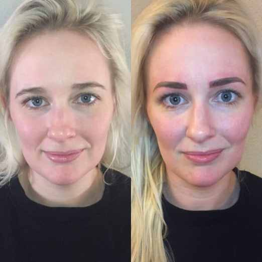 danielle full face eyebrow tattoo before and after