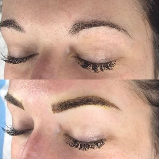 stephanie left brow view microblading and shading before after