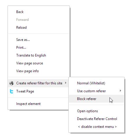 referer control for chrome