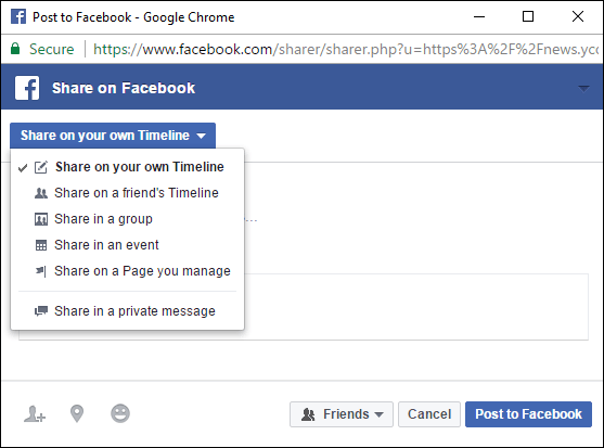 facebook sharing options in group or timeline