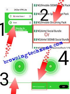 Airtel social bundle cheat settings via 24Clan VPN Lite