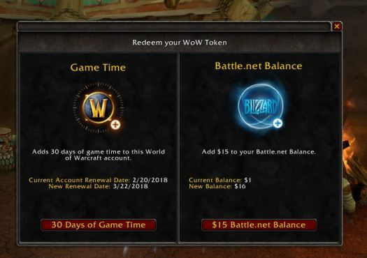 Playing Warcraft Token Balance