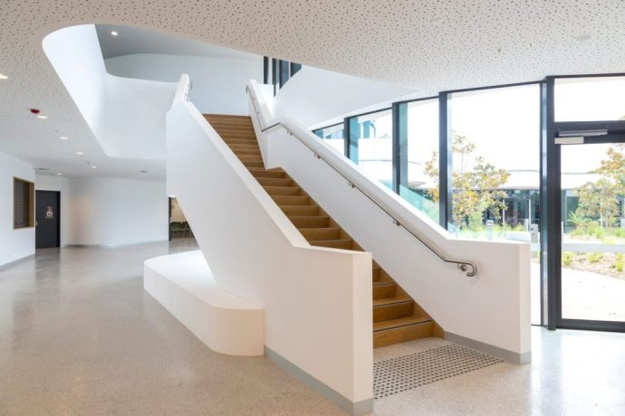 Plasterboard stair linings and perforated ceilings