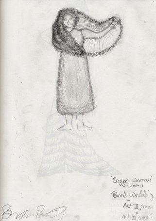 Costume Sketch - 'The Beggar Woman' - Act III