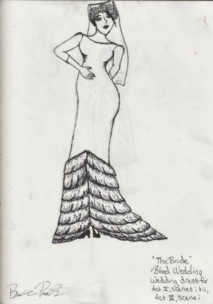 Costume Sketch - 'The Bride' - All of Act II and the beginning of Act III (Blood Wedding)