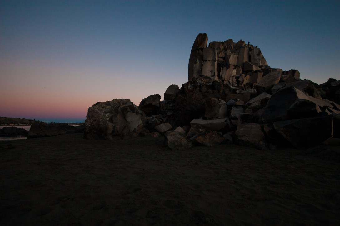 shag rock illuminated by the sunrise