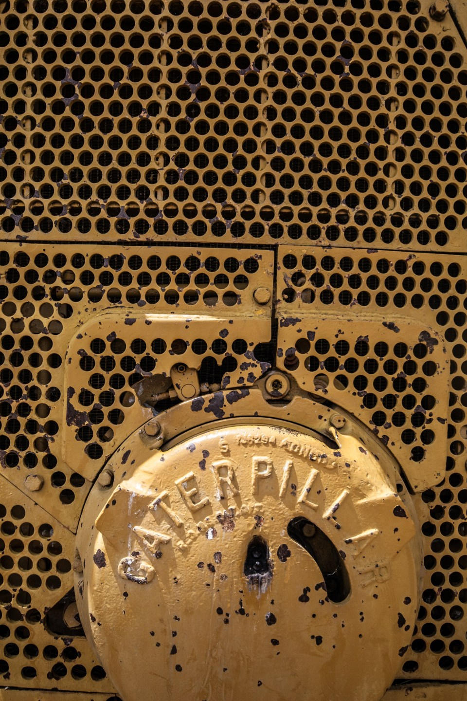 front grille of a caterpillar bulldozer