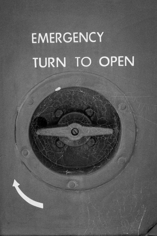 emergency - turn to open from old bus door