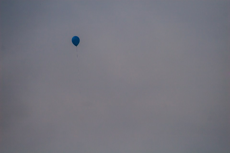 a single solitary balloon flying up into the sky