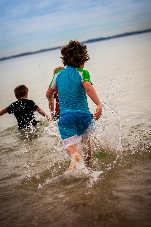 running into the ocean