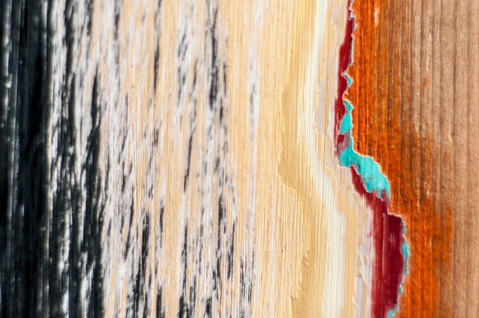brushed over - many layers of paint
