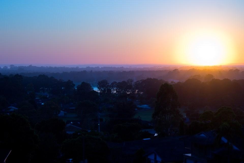 sunrise, blue pink purple orange black
