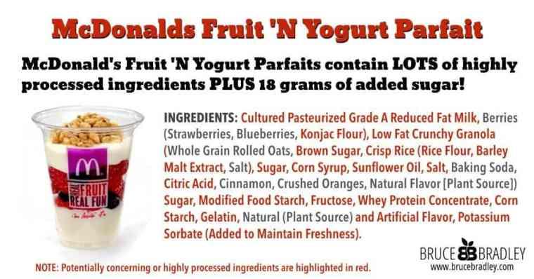 McDonald's Fruit 'N Yogurt Parfaits contain LOTS of highly processed ingredients PLUS 18 grams of added sugar!
