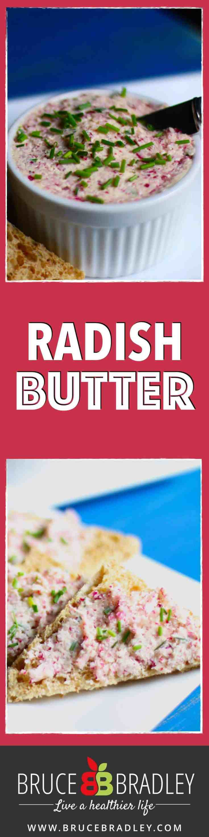 Radish butter is a delicious, super easy way to add some color and veggies to your snacks or meals!
