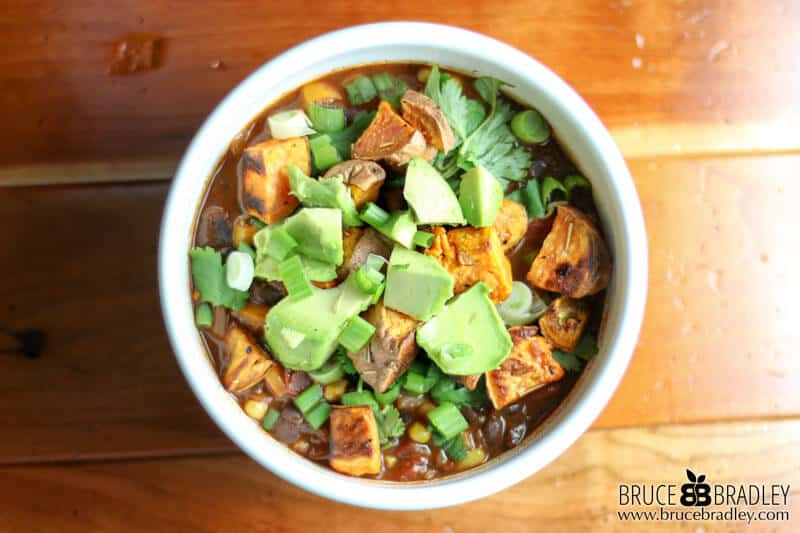 Recipe: Cocoa Black Bean Chili with Roasted Sweet Potatoes