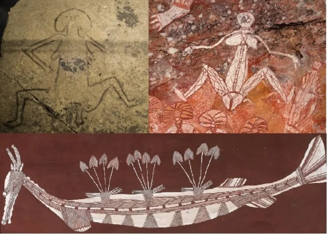 Earth mother images from Gobekli Tepe and from Arnhem Land, without profound similarity. Beneath is a more recent depiction of the creator spirit in serpent form. (Rainbow serpent Image credit: Bardayal 'Lofty' Nadjamerrek)