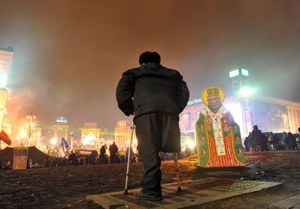 A disabled protester stands on Independence Square in Kiev