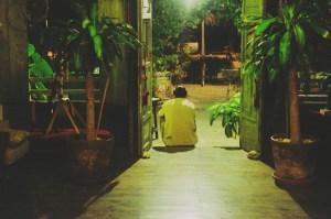 sitting in doorway