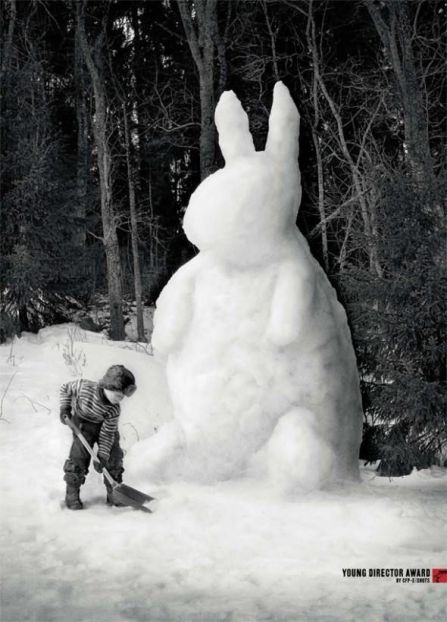 easter bunny snow