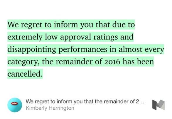 kim harrington remainder of 2016 cancelled