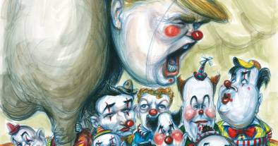 trump clown car yell bombast