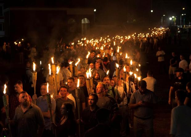 ..... white nationalist torch march in charlottesville .........