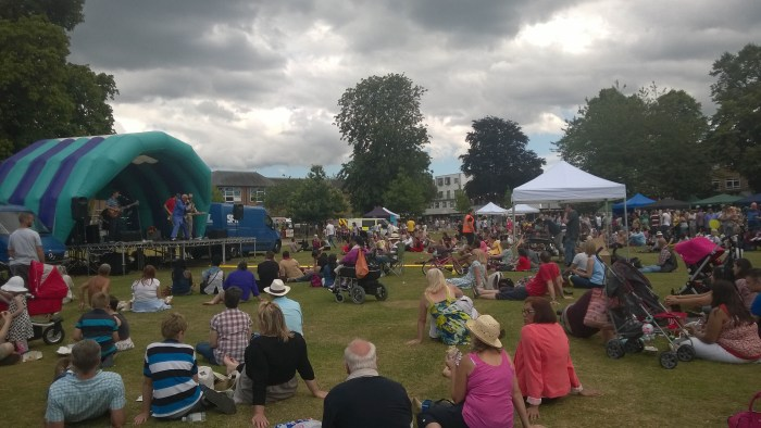 Everyone enjoying Ken Wood and the Mixers, despite the overcast weather