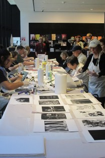 Participants working on their own monotypes in Bruce's Demo at MoMA.