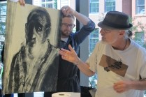 Bruce explaining one of his prints at MoMA monotype demo.