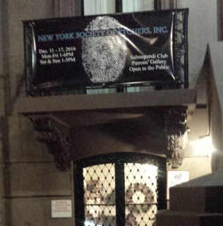 NY Society of Etchers banner hanging in front of the Salmagundi Club.