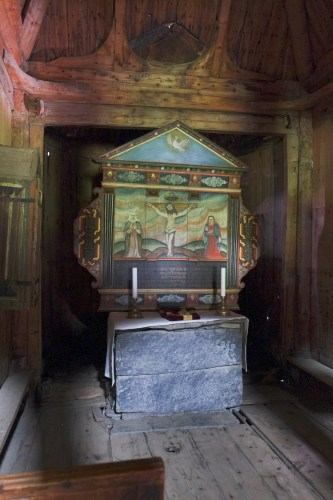 Medieval Stone Altar. The Altarpiece Was Painted In 1654.