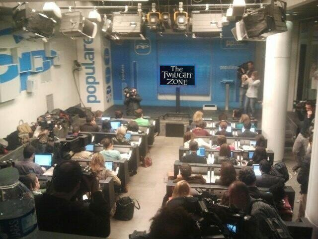 The Twilight Zone en la sala de prensa del PP.
