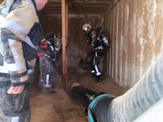 Einsatz mit Feuerwehr Thun: Brand in einem Container