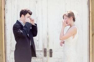 Bruid en bruidegom voor ceremonie
