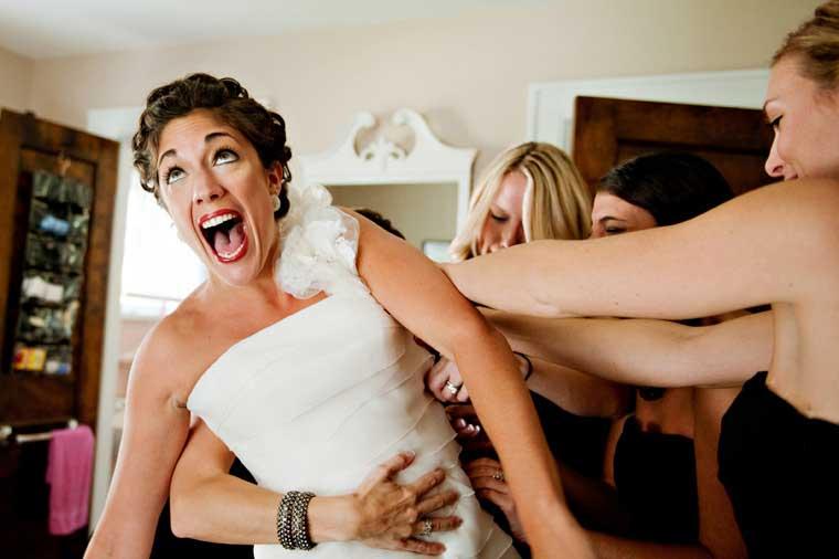 Bruid heeft afslanktips nodig om in haar trouwjurk te passen