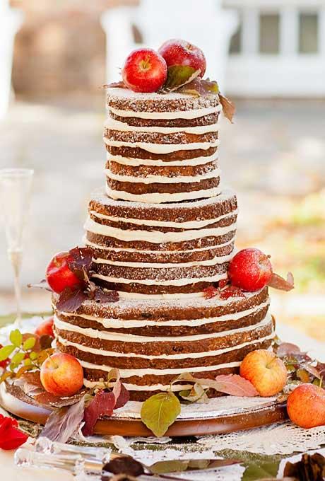 Herfst bruiloft taart met appels