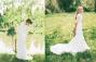 Twee bruidjes in trouwjurk met lange mouwen