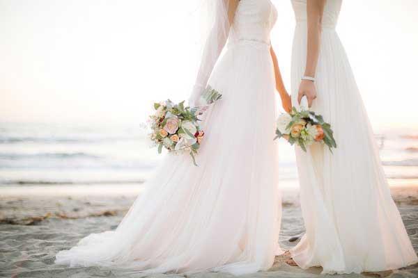 Een Bruiloft Twee Bruiden Prachtige Trouwfoto S Bruiloft