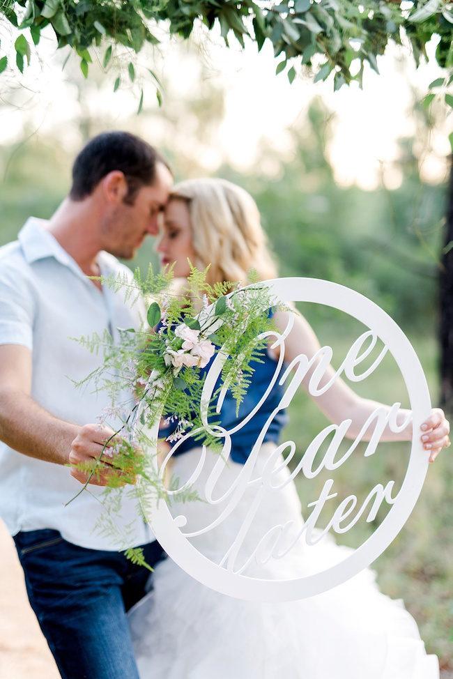 Bruidspaar tijdens eerste jubileum