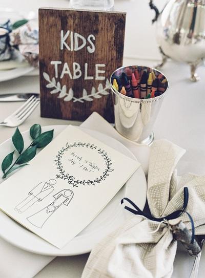 Kindertafel bruiloft