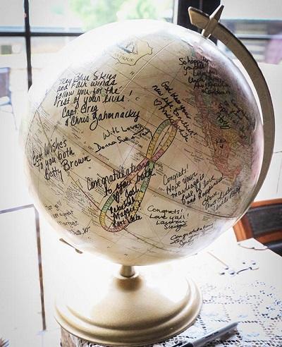 Wereldbol als gastenboek