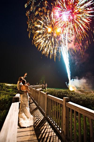 Vuurwerkshow bruiloft