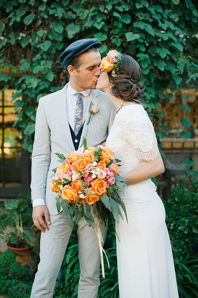 Bruidegom met platte pet