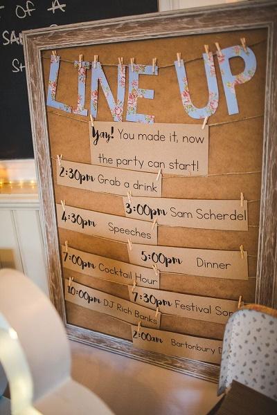 DIY festival bruiloft programma