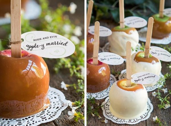 Herfstbruiloft gekarameliseerde appels