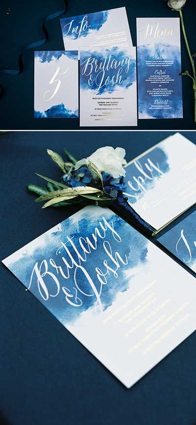 Trouwkaarten blauw