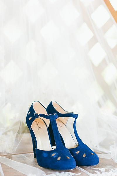 Blauwe trouwschoenen