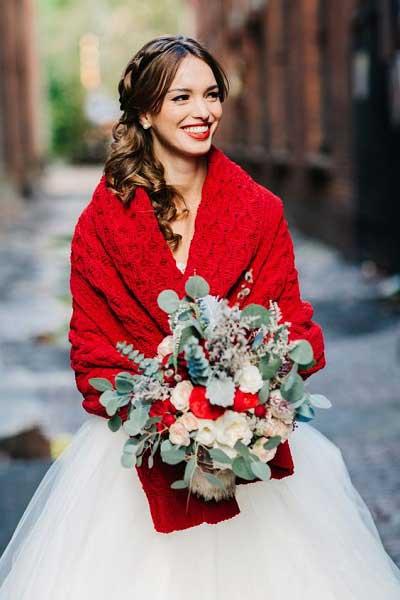 Winter bruiloft trouwjurk