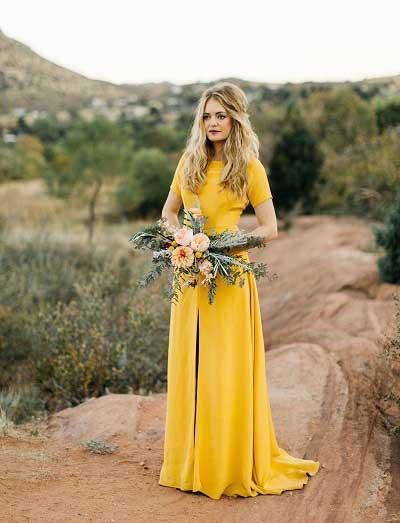 Trouwjurk 2e Huwelijk.Prachtige Bruiden In Een Gele Trouwjurk Bruiloft Inspiratie